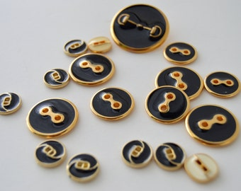 Black & Gold Metal Buttons - Various sizes - 16