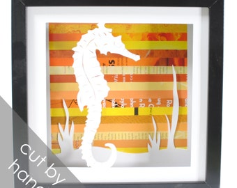 seahorse shadowbox- made from recycled magazines, marine fish, ocean, sea