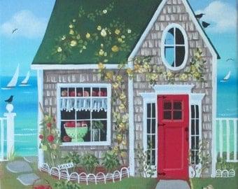 Fresh Tomatoes Cottage Folk Art Print
