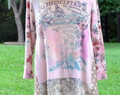 Artsy Boho Soft Floral Tunic   Medium / Large  Upcycled  Reconstructed  Recycled