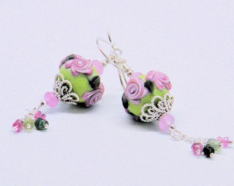 Earring set with lampwork beads,swarovski crystals and sterling silver, Crystal Earrings, Floral Jewelry, Dangle Earrings, Pastel Earrings