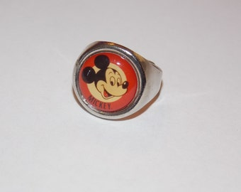 Vintage Adjustable Silver Mickey Mouse Ring