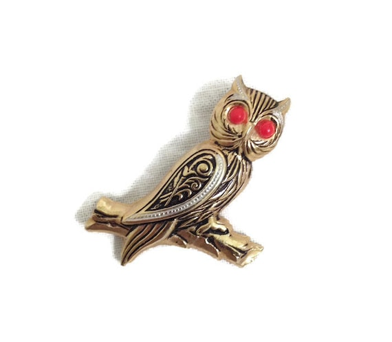 Vintage Owl Brooch, Owl Pin, Gold Tone, Owl Jewelry, Made in Spain