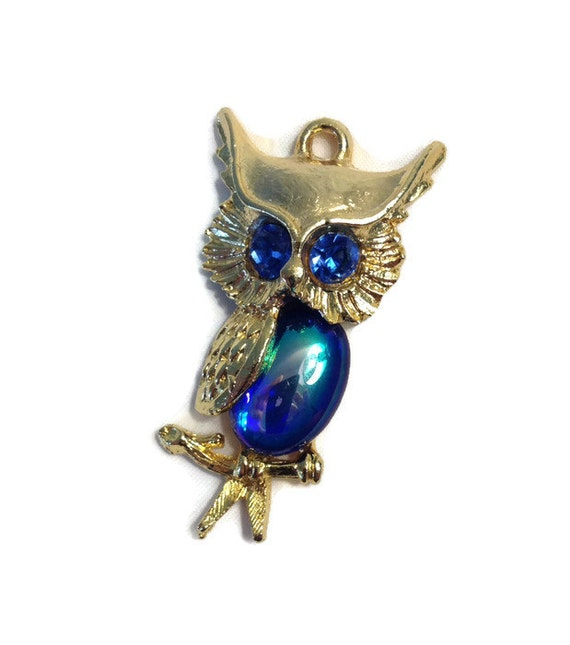 Retro Owl Pendant, Key Chain, Jelly Belly Style, Blue and Gold