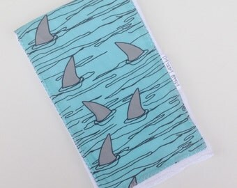 Burp Cloth  for Baby - Shark Fins - Single Burp Cloth  - Boutique  Baby Gift / Layette Set - Made in Maui, Hawaii USA