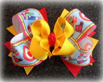 Back to School Large Boutique Hair Bow Layers of Loops Red Ruler Pencils for Baby Toddler to Little Girl