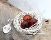 Personalized bird nest necklace with three carnelian eggs and initial charm- silver plated woven wire- Sterling chain- July birthstone