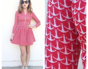 Vintage Mod red anchor mini dress XS