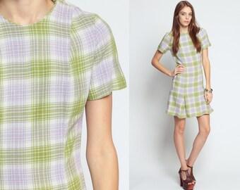 1960s Mod Dress Plaid SCOOTER Space Age Shift 60s Mini Drop Waist GOGO Pleated Vintage Short Sleeve Green Minidress Twiggy Small