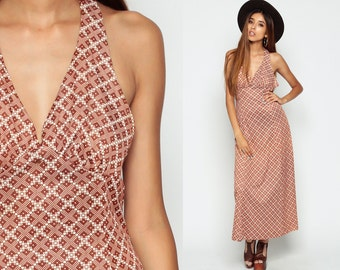 Bohemian Backless Dress Maxi 70s Hippie Halter Neck Geometric Print Deep V Neck Empire 1970s Vintage Sundress Sun Boho  Medium