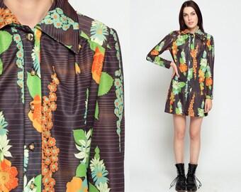 70s Floral Dress 70s Shift Button Up Psychedelic Mini 1970s Long Sleeve Boho Shirtdress Mod Collared Retro Bohemian Orange Small Medium