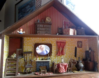 Handmade Wooden Diorama Box Cabin Dollhouse Miniatures
