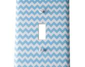Decor Doodles™ #P3 Light Blue Chevron light switch cover outlet cover Bedroom decoration kitchen decor Custom light switch plate