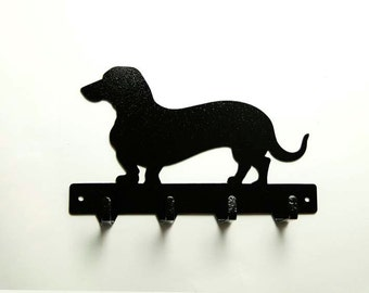 Dachshund Wiener Metal Art Dog Leash or Key Rack - Free USA Shipping