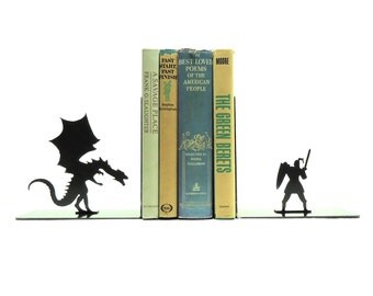 Dragon & Knight Metal Art Bookends - Free USA Shipping