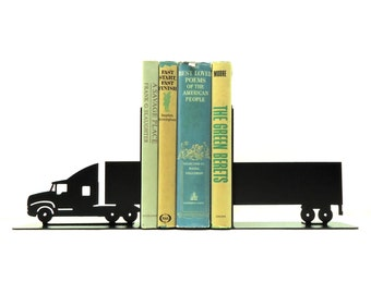 Semi Tractor Trailer Metal Art Bookends - Free USA Shipping