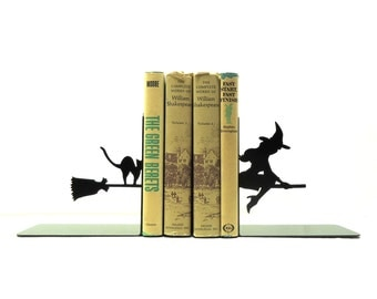 Witch Metal Art Bookends - Free USA Shipping