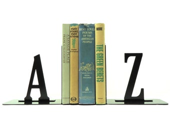 A to Z Metal Art Bookends - FREE USA Shipping