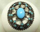 Vintage Silver Filigree and Turquoise Stone Brooch/ Pendant