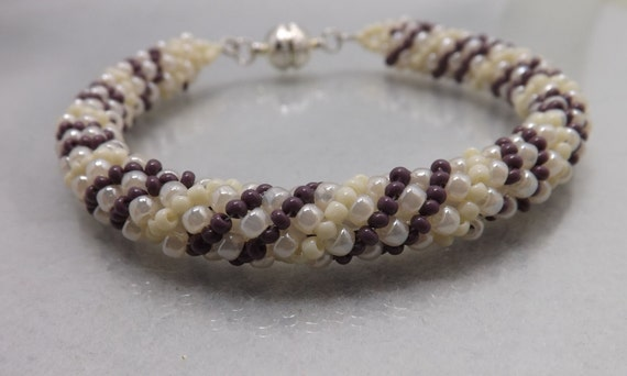 Stackable Bracelet -Seed Bead bracelet-Cream and Dark Purple Stripes - 7 inches Long-magnetic clasp SKU: BR1005