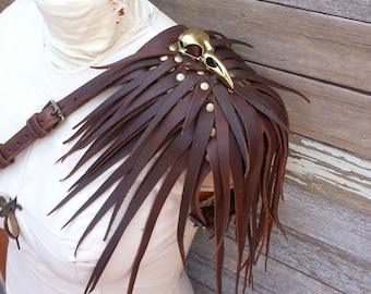 Primitive Feathered Chocolate Brown Leather Unisex Left Shoulder Harness with Brass Raven Skull