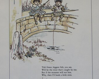 Kate Greenaway Childrens Print/Nursey Print/Unframed Book Page, 2-Sided, 1970s/8 x 11 in