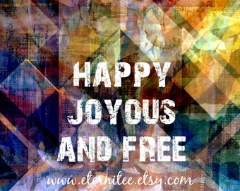 12 Steps Happy Joyous Free 8x10 inch 12 step Big Book art print original art inspirational art