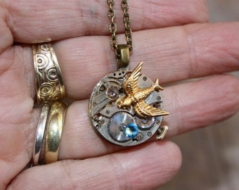 Vintage Watch Movement Necklace with bird
