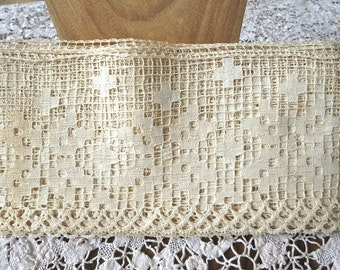 1920s Old Store Stock Wide Ivory Filet Lace Trim 5 1/2 Inches Wide