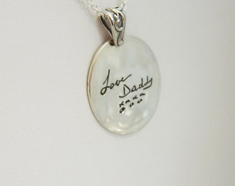 Sterling Silver Handwriting Necklace in Memory of Dad Signature Jewelry