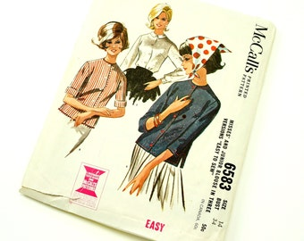 Vintage 1960s Womens Size 14 Front Button Tuck-In Blouse or Overblouse McCalls Sewing Pattern 6583 / bust 34 / Complete
