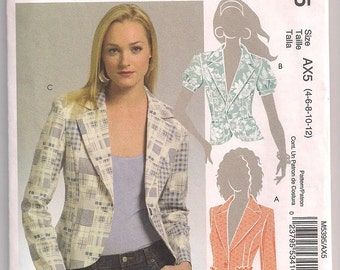 Jacket Pattern, McCalls 5395, Semi Fitted, Princess Seams, Short- Three Quarter- Long Sleeves, Shoulder Pads, Misses Petite 4 6 8 10 12