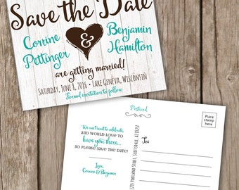 Save the Date Postcard - Fun and Rustic - Save the Date Cards, Script Font, Aqua and Brown Save the Date Postcard