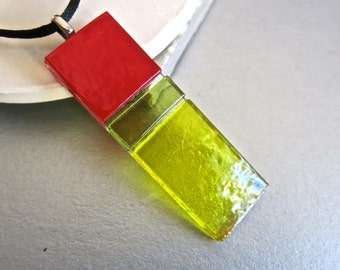 Hand Made used Glass Long Pendant Necklace Red,Yellow,Lime