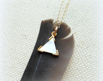 Gold triangle necklace tiny triangle necklace geometric minimalist necklace triangle pendant gold filled necklace everyday necklace
