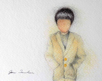 Boy In A Yellow Coat - Original Drawing