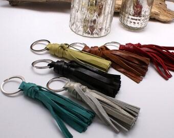 Leather Tassel Keychain - Tassel Key Fob - Tassel Key Ring - Gift - Handmade - Choose Your Color