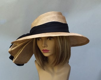 Kentucky Derby hat, Sonya, beautiful straw hat with draped pleating on the side, womens, tan with black silk sash