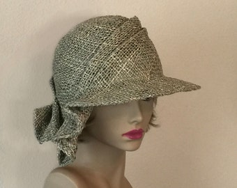 Sonya, seagrass side drape millinery hat, womens straw cloche hat
