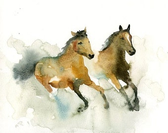 HORSES Original watercolor painting 10x8inch