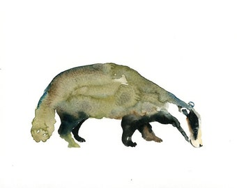 BADGER Original watercolor painting 10x8inch