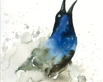 GRACKLE Original watercolor painting 8x10inch