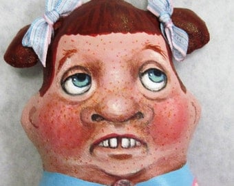 """Cloth Doll, Painted Doll, Hanging """"Ugly Ginger"""", OOAK by NIADA artist Donna May Robinson"""