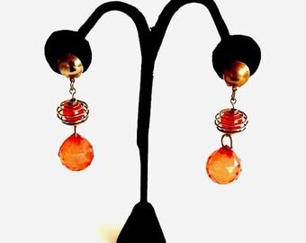 Vintage Orange Clip On Earrings, Dangle Earrings, Retro Costume Jewelry, Womens Earrings, Accessories, Casual Jewelry, Casual Earrings