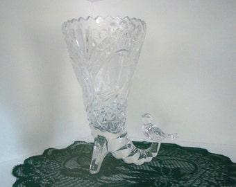 Vintage Glass Bird Vase Pressed Glass Etched Decorative Vase
