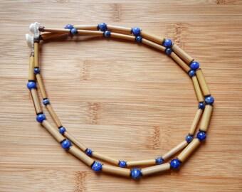 Kauai Bamboo Jewelry - Hawaiian Bamboo and Sodalite Necklace