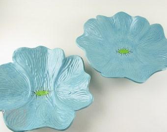 Made to Order - Ceramic Poppy Wall Art Soft Turquoise Poppy Flower Wall Decor