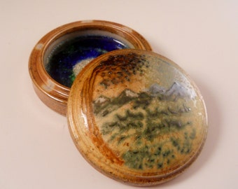 Green Mountains & Tree Landscape Salt Fired Gem Jar
