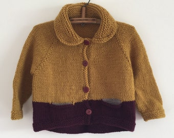 Girls 'PICKPOCKET' Cardigan - NEW -  size 4 - natural wool