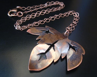 Copper Leaf Necklace, Copper Necklace, Hand Sawed Copper Leaf Pendant, Metal Smith Chain Necklace, Oxidized Copper Pendant, Leaf Jewelry